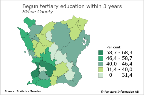Diagrams bild Transition to tertiary education by municipality